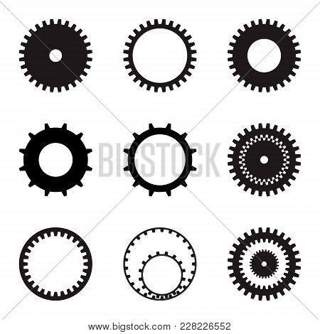 Set Of Gears. Black Silhouettes On A White Background. Vector Graphics.