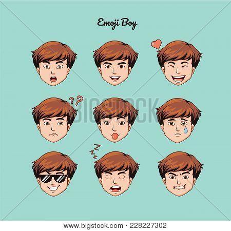 Teen Boy Emoji, Smile Icons Set, Vector, Art, Design, Color