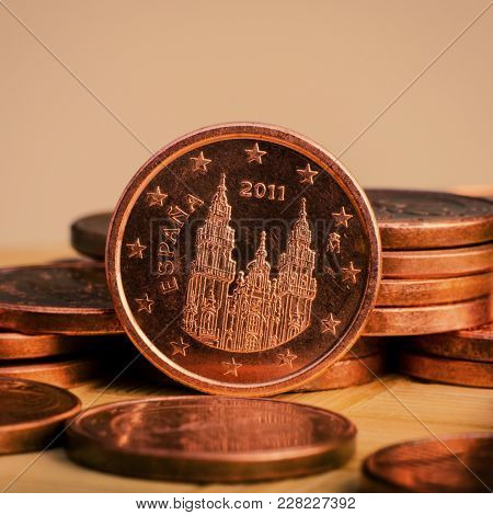 One Cent Coin Is On Coins. Euro Money.  Currency Of The European Union.