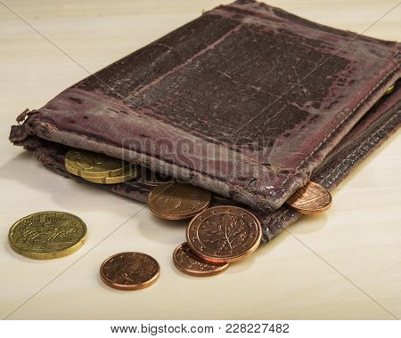 Old Wallet And Euro Coins Cents. Euro Money.  Currency Of The European Union.