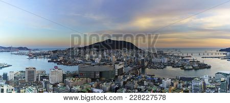 Busan Metropolitan City , South Korea - February 17 , 2018 : Panoramic Image Of Beautiful Scenery Fr