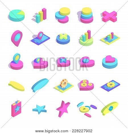 Isometric Simple Icon Big Collection Concept Vector Illustration