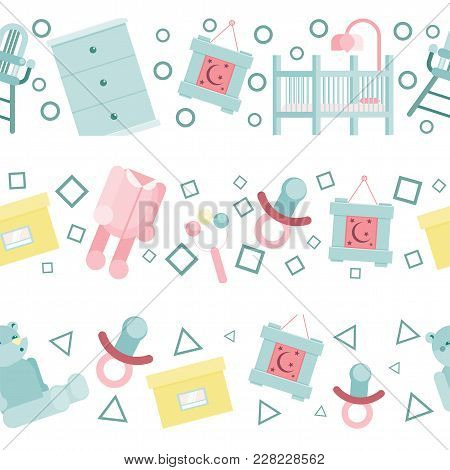 Flat Baby Room Pattern Vector Illustration With Cot, Sliders And Nipple