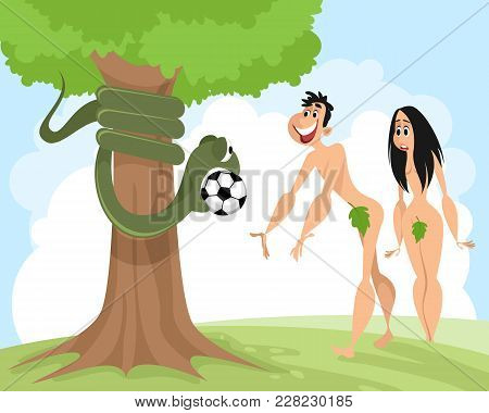 Snake Seduces Adam With A Soccer Ball