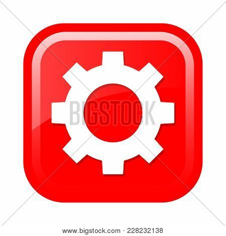 Button With The Image Of The Gear. Vector Illustration