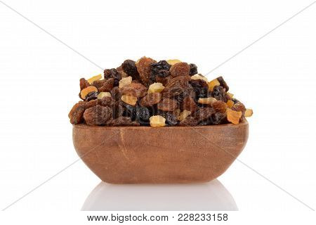 Closeup Raisins Currants And Sultanas With Candied Peel In Wood Bowl