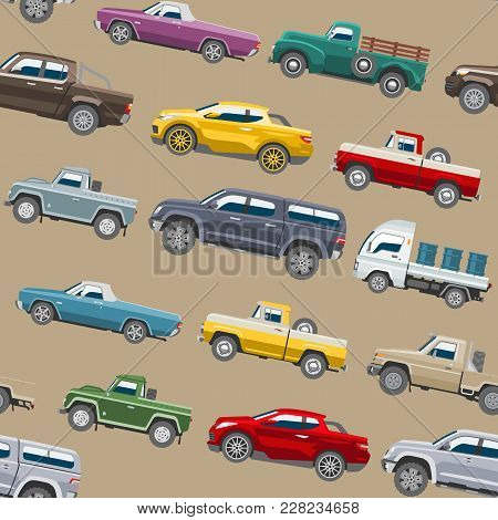 Pickup Car Vector Auto Pick Up Delivery Transport Automobile Offroad Vehicle Or Truck And Mockup Iso