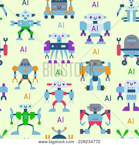 Robots Vector Cartoon Robotic Kids Toy Cute Character Monster Or Transformer Cyborg Robotics Transfo