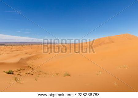 Sand Dunes Of Erg Chebbi In He Sahara Desert, Morocco