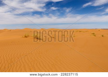 Waves On The Sand In The Sahara Desert, Morocco.