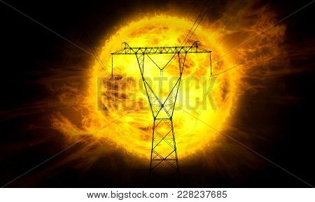 Concept Illustration Of Energy From Sun. Electric Power Tower On Big Sun And Flames In Background.