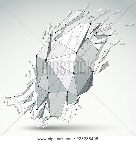 3d Vector Low Poly Object With Black Connected Lines And Dots, Geometric Wireframe Shape With Refrac
