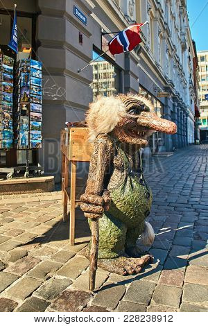Oslo, Norway: May 1 2017 - Traditional Norwegian Troll Figure On The Street In Front Of A Souvenir G