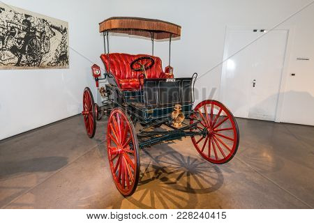 Malaga, Spain - December 7, 2016: Antique 1898 Winner Automobile (usa), One Of The First Vehicles Wi