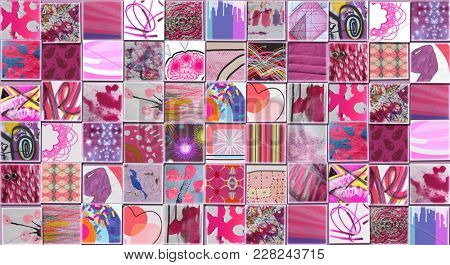 Abstract Pink Background made with Small illustrations