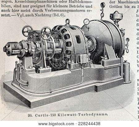 ILLUSTRATIVE EDITORIAL.Vintage illustration - STEAM-ENGINE. Meyers Kleines Lexikon. Edition 1908. February 22 2018 in Kiev,Ukraine