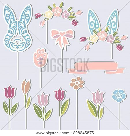 Vector set for Baby birthay. Bunny, floral wreath, bunny ears, flowers as cake toppers or stickers isolated on background. Design elements for Sweet Bunny Party. poster