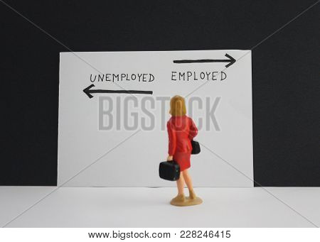 Employed Or Unemployed Options With Arrows. Little Woman Stand And Thinking About Future.