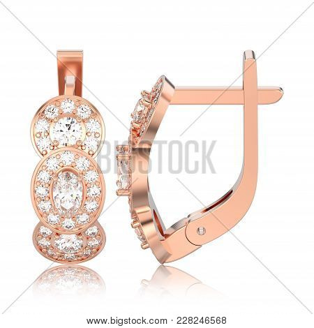 3d Illustration Isolated Rose Gold Three Stone Solitaire Diamond Earrings With Hinged Lock With Refl
