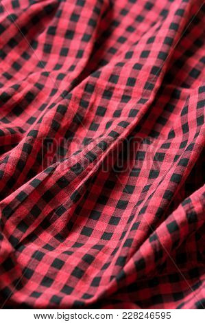 Red And Black Classic Checkered Cotton Fabric. Plaid Texture, Male Cloth Design