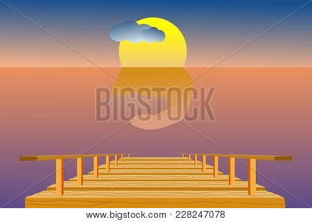 Wooden Pier In The Sea With Sky, Sun, Clouds, And Horizon Line; Dusk Time. Vector Illustration In Fl