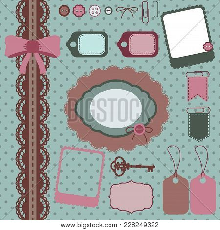 Scrapbooking Elements Pink And Mint, Cliparts For Scrapbooking,vector Frames, Lace, Key
