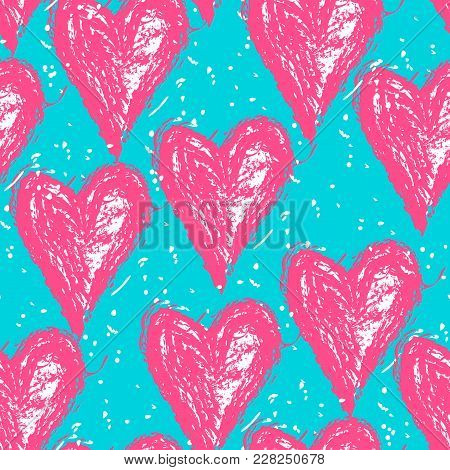 Vector Doodle Pattern With Heats, Made Of Brush Stroke. Bright Pink And Blue Seamless Background.