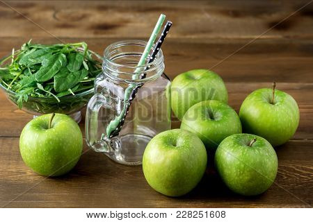 Fruit For Freshly Green Smoothie Glass Jar With Straw. Spinach Aragula Green Apple Detox Healthy Foo