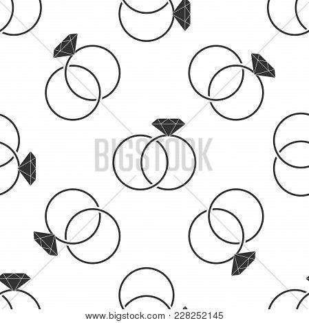 Wedding Rings Icon Seamless Pattern On White Background. Bride And Groom Jewelery Sign. Marriage Ico