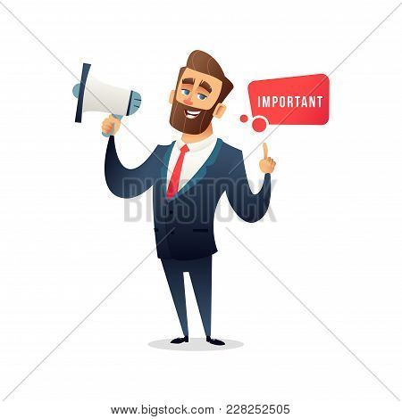 Successful Bearded Businessman Or Manager Say Something Special In Loudspeaker. Man In A Business Su