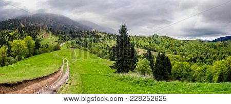 Gorgeous Countryside Of Carpathian Mountains. Beautiful Springtime Scenery On A Cloudy Day. Country