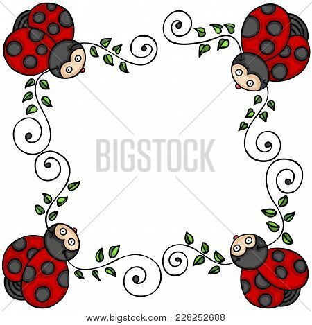 Scalable Vectorial Representing A Decorative Frame With Leaves And Ladybugs, Element For Design, Ill