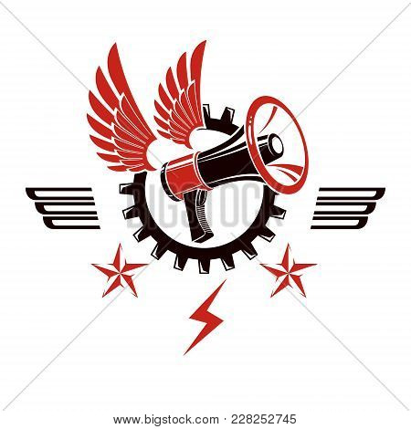 Decorative Vector Emblem Composed With Winged Loudspeaker And Gear Symbol. Social Revolution Concept