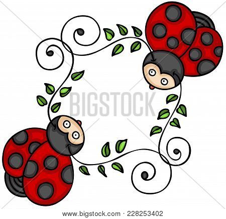 Scalable Vectorial Representing A Two Cute Ladybugs, Element For Design, Illustration Isolated On Wh