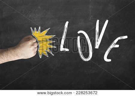 Divorce Relationship Concept. Love Is Gone - Fist Beats Inscription Love On Chalkboard