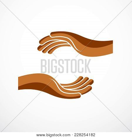 Protecting Hands Of Care, Tender And Defending Human Hands Vector Design, With A Copy Space Inside F