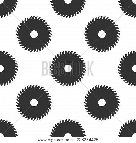 Circular Saw Blade Icon Seamless Pattern On White Background. Saw Wheel. Flat Design. Vector Illustr
