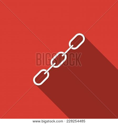 Chain Link Icon Isolated With Long Shadow. Link Single. Flat Design. Vector Illustration
