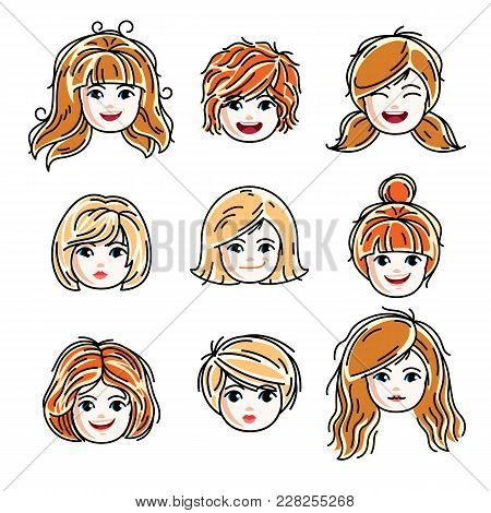 Collection Of Cute Smiling Girls Faces Expressing Positive Emotions, Vector Human Head Illustrations