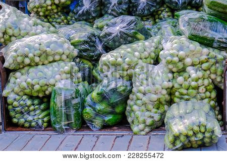 Asian Farmer's Market Selling Fresh Green Salat Vegetables