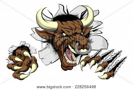 Bull Sports Mascot Concept Of A Mean Looking Tough Bull Smashing Through A Wall