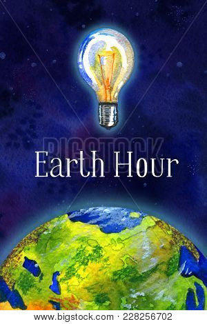 Earth Hour Hand Drawn Watercolor Illustration - Half Globe  View Asia And Europe And Bulb In Outer S
