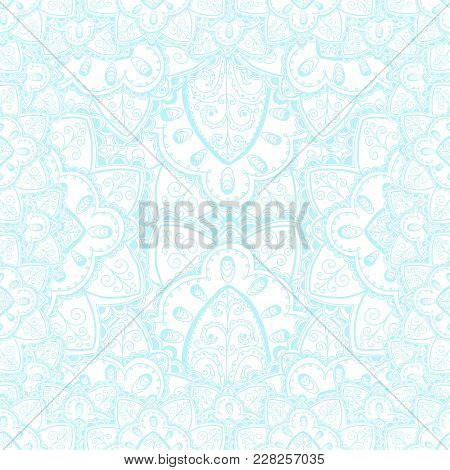 Vector Tender Lace Vector Pattern With Doodle Flowers. Blue And White Design.