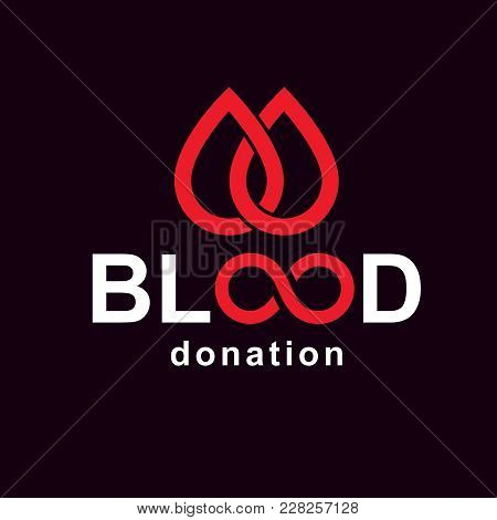 Vector Blood Donation Inscription Created With Limitless Symbol. Save Life And Donate Blood Conceptu