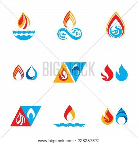 Set Of Nature Power Symbols, Composition Of Water And Fire Elements. Vector Illustrations For Use In