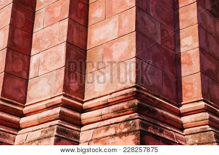 Close Up Of Thailand Ancient Red Brick Wall Sand Stone In Temple For South East Asia Temple Texture