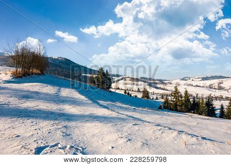 Wonderful Winter Landscape In Mountains. Lovely Rural Scenery With Snowy Slopes On A Bright Sunny Da