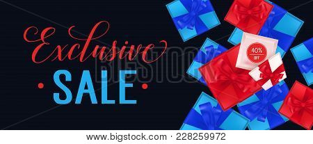 Exclusive Sale, Forty Percent Off Lettering With Present Boxes On Black Background. Calligraphic Ins