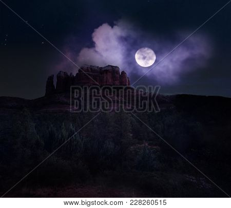 Cathedral Rock In Sedona Under A Sky Full Of Stars And Bright Full Moon.