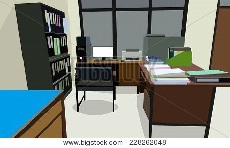 Room Office Workplace Design Interior With Cabinet, Table Chair Book, Bookcase And Wall Cream Color.